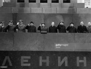 Nikolai Podgorny, Leonid Brezhnev, and Andrei Kosygin on the rostrum of Lenin's tomb during May Day celebrations. 1971.
