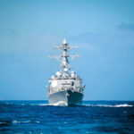 Source: PACIFIC OCEAN (July 18, 2016) The guided-missile destroyer USS William P. Lawrence (DDG 110) transits the Pacific Ocean during Rim of the Pacific 2016. Twenty-six nations, more than 40 ships and submarines, more than 200 aircraft and 25,000 personnel are participating in RIMPAC from June 30 to Aug. 4, in and around the Hawaiian Islands and Southern California. The world's largest international maritime exercise, RIMPAC provides a unique training opportunity that helps participants foster and sustain the cooperative relationships that are critical to ensuring the safety of sea lanes and security on the world's oceans. RIMPAC 2016 is the 25th exercise in the series that began in 1971. (U.S. Navy photo by Mass Communication Specialist 2nd Class Ryan J. Batchelder/Released)